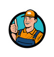 service logo happy man showing thumbs up vector image vector image
