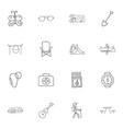 set of 16 editable trip doodles includes symbols vector image vector image