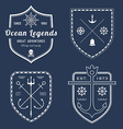 Set of nautical logos badges and labels on vector image vector image