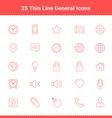 Set of Thin Line Stroke General Icons vector image