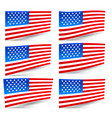 set of usa flags vector image vector image