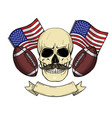 sketch color skull american football vector image vector image
