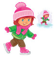 small girl ice skating vector image