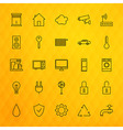 Smart House Technology Line Icons Set over vector image vector image