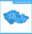 the detailed map of the czech republic with vector image vector image