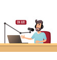 the radio presenter is talking on the air a young vector image