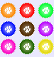 trace dogs icon sign A set of nine different vector image