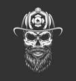vintage monochrome firefighter skull in helmet vector image