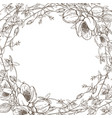 wreath wild herbal flowers hand drawn vector image vector image
