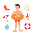 young man surrounded with swimming equipment icon vector image