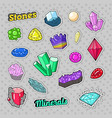 jewels stones and minerals colorful set vector image