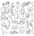 beer hand drawing set of sketches vector image
