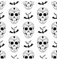 Halloween seamless pattern scary skulls vector image