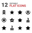12 rating icons vector image vector image