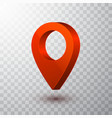 3d map pointer red navigator symbol isolated vector image vector image