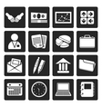 Black Simple Business and office icons vector image