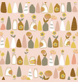 brown grey and white vases and flowers on pink vector image vector image