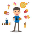 business man unhappy hungry bearded man eating vector image vector image