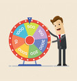 businessman with fortune s wheel business concept vector image vector image