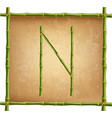 capital letter n made of green bamboo sticks on vector image vector image