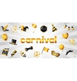 Carnival banner with gold icons and objects vector image vector image