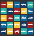 cars collection set on color squares background vector image