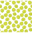 Cartoon yellow lemon fruit with contour seamless vector image