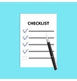Checklist with pen Isolated flat vector image