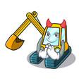 devil excavator mascot cartoon style vector image vector image