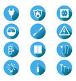 electricity icon in flat style on blue circle vector image