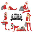 Five sexy girl using santa costume for christmas vector image vector image