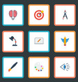 flat icons wings screen eye and other vector image vector image