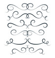 flourish set scroll collection curl vector image vector image