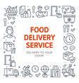 food delivery poster frame with line icons vector image vector image