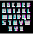 glitch font with interference uppercase vector image vector image