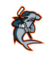 hammerhead ice hockey player mascot vector image