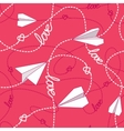 Hearts Paper Airplanes Love Seamless Pattern vector image vector image