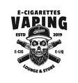 hipster skull in cap and two e-cigarettes vector image vector image