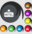 hotel icon sign Symbols on eight colored buttons vector image vector image
