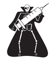 Human Skeleton with syringe halloween vector image vector image