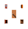 icon flat approach set of frame door exit and vector image vector image