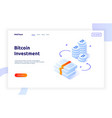 isometric bitcoin investment and growth design vector image
