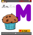 letter m with cartoon muffin sweet cake vector image vector image