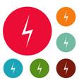 lightning icons circle set vector image
