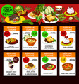 lunch menu cards with german cuisine food vector image vector image