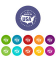 made in usa country icons set color vector image