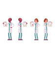 male and female doctor with clipboard vector image vector image