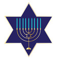 menorah graphic on blue star vector image