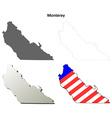 Monterey County California outline map set vector image vector image