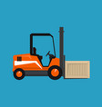 orange forklift truck with a box vector image vector image